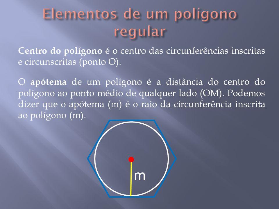 Centro do polígono é o centro das circunferências inscritas e circunscritas (ponto O).