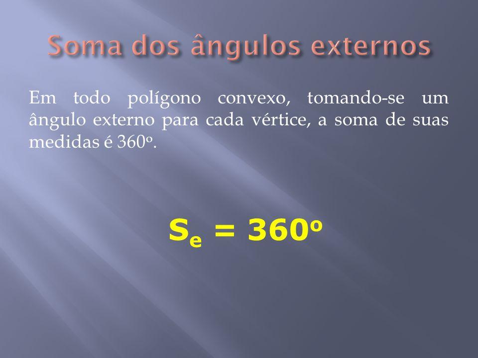 Em todo polígono convexo, tomando-se um ângulo externo para cada vértice, a soma de suas medidas é 360 o.