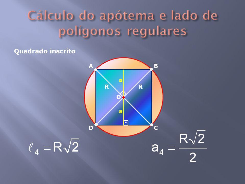 Quadrado inscrito RR a a AB CD O