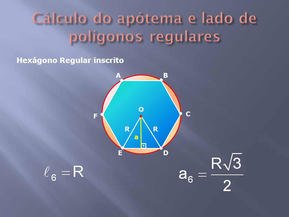 Hexágono Regular inscrito R R a AB DE C F O