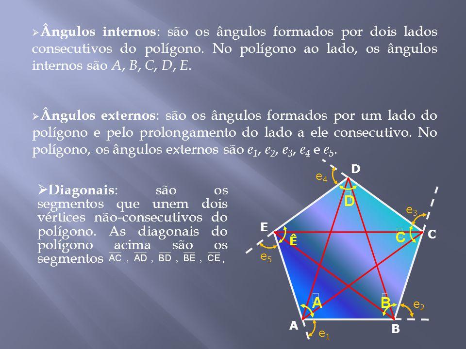  Diagonais : são os segmentos que unem dois vértices não-consecutivos do polígono.