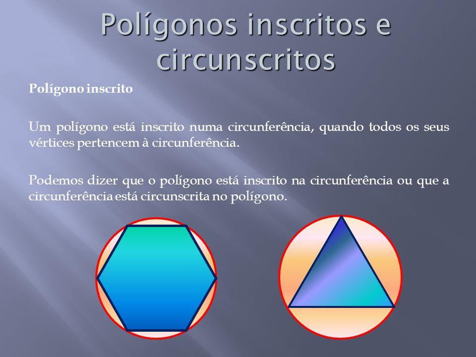 Polígono inscrito Um polígono está inscrito numa circunferência, quando todos os seus vértices pertencem à circunferência.