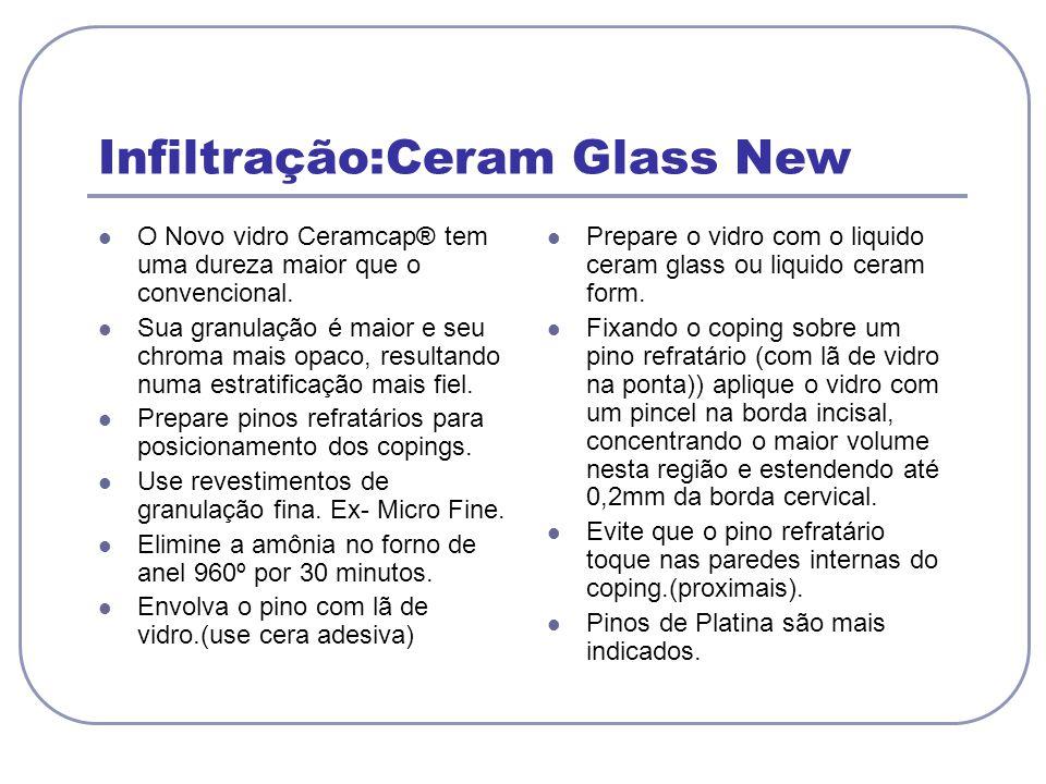 Infiltração:Ceram Glass New O Novo vidro Ceramcap® tem uma dureza maior que o convencional. Sua granulação é maior e seu chroma mais opaco, resultando