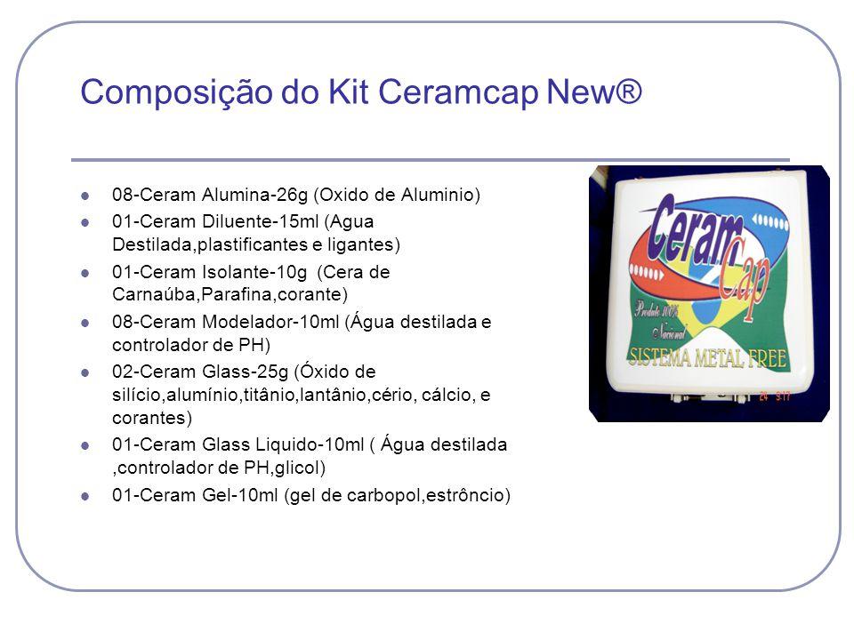 Composição do Kit Ceramcap New® 08-Ceram Alumina-26g (Oxido de Aluminio) 01-Ceram Diluente-15ml (Agua Destilada,plastificantes e ligantes) 01-Ceram Is