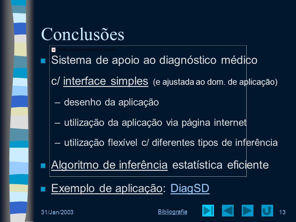 31/Jan/200313 Conclusões Sistema de apoio ao diagnóstico médico c/ interface simples (e ajustada ao dom. de aplicação) –desenho da aplicação –utilizaç