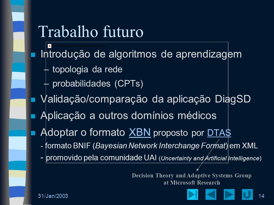 31/Jan/200314 Trabalho futuro Introdução de algoritmos de aprendizagem –topologia da rede –probabilidades (CPTs) Validação/comparação da aplicação Dia