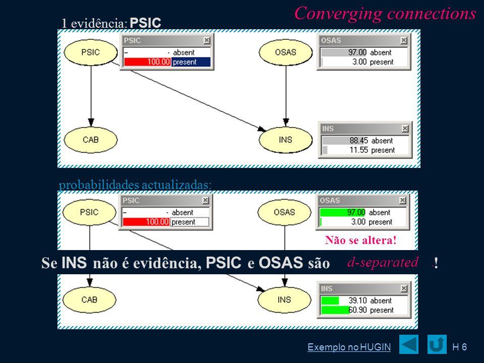 probabilidades actualizadas: H 6 Se INS não é evidência, PSIC e OSAS são independentes! Não se altera! 1 evidência: PSIC Converging connections Exempl