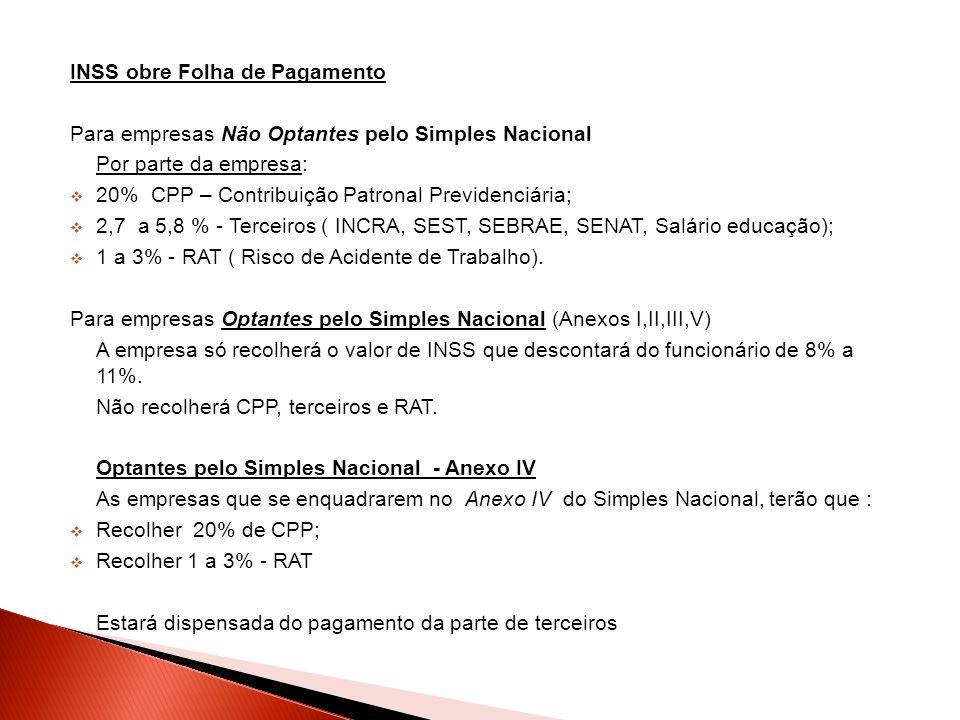 INSS obre Folha de Pagamento Para empresas Não Optantes pelo Simples Nacional Por parte da empresa:  20% CPP – Contribuição Patronal Previdenciária;