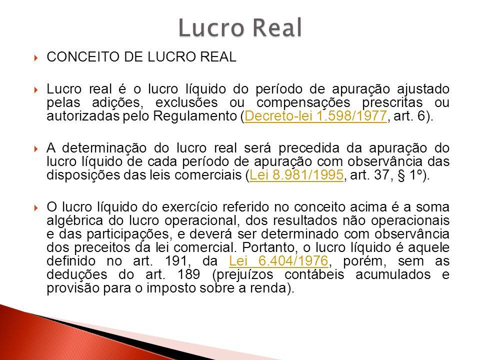 CONCEITO DE LUCRO REAL  Lucro real é o lucro líquido do período de apuração ajustado pelas adições, exclusões ou compensações prescritas ou autoriz