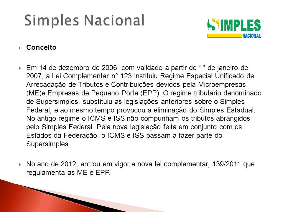  Conceito  Em 14 de dezembro de 2006, com validade a partir de 1° de janeiro de 2007, a Lei Complementar n° 123 instituiu Regime Especial Unificado