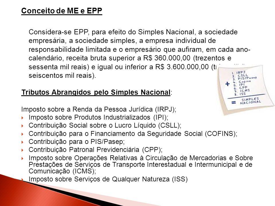 Conceito de ME e EPP Considera-se EPP, para efeito do Simples Nacional, a sociedade empresária, a sociedade simples, a empresa individual de responsab