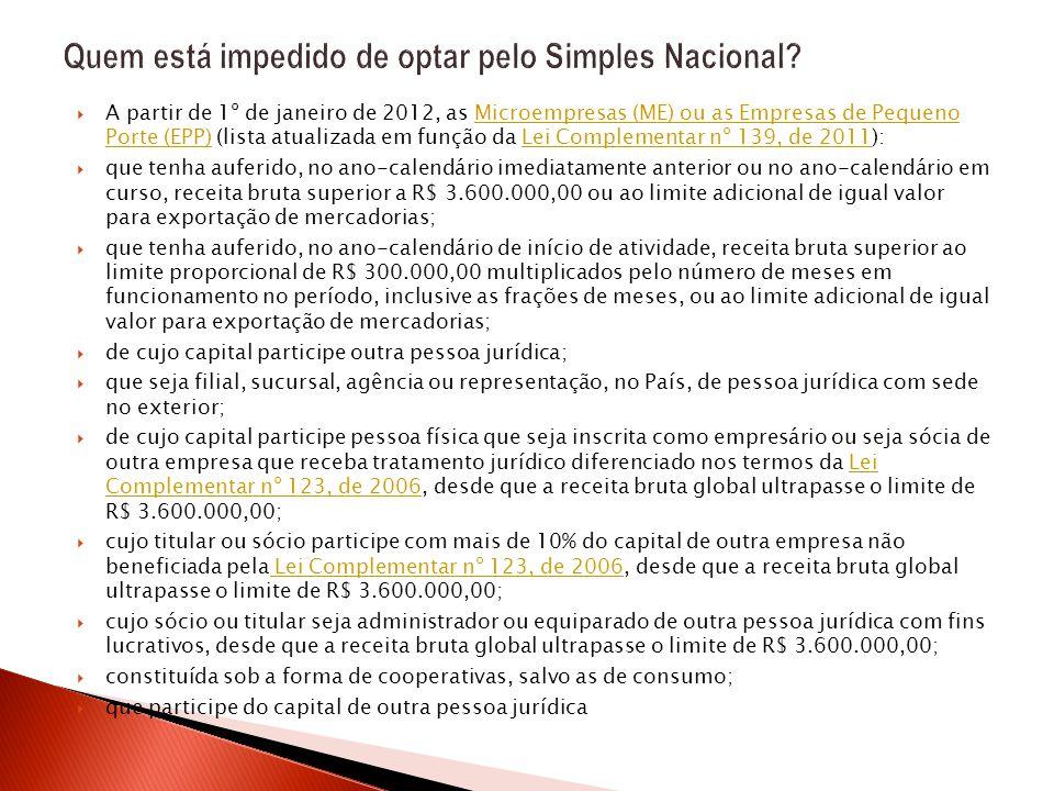  A partir de 1º de janeiro de 2012, as Microempresas (ME) ou as Empresas de Pequeno Porte (EPP) (lista atualizada em função da Lei Complementar nº 13