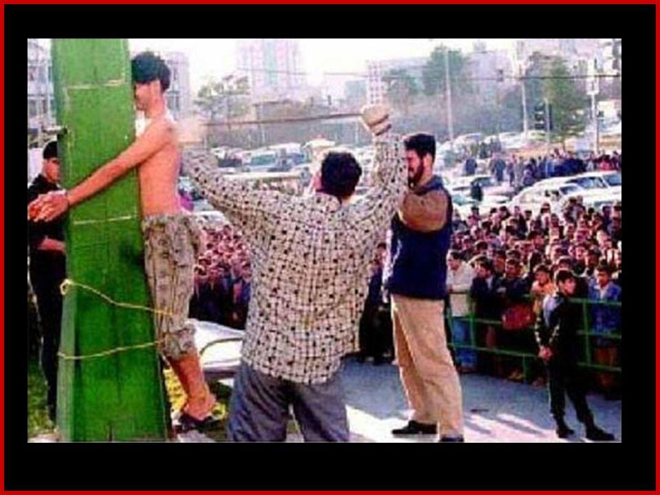 Flagelação Pública O jornal de Teerã, em 18 de fevereiro, anuncia que, em 15 de fevereiro, três jovens foram espancados em público, na praça Vanak, em Teerã.