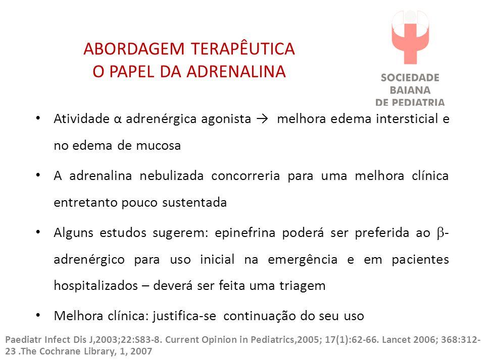 ABORDAGEM TERAPÊUTICA O PAPEL DA ADRENALINA Atividade α adrenérgica agonista → melhora edema intersticial e no edema de mucosa A adrenalina nebulizada