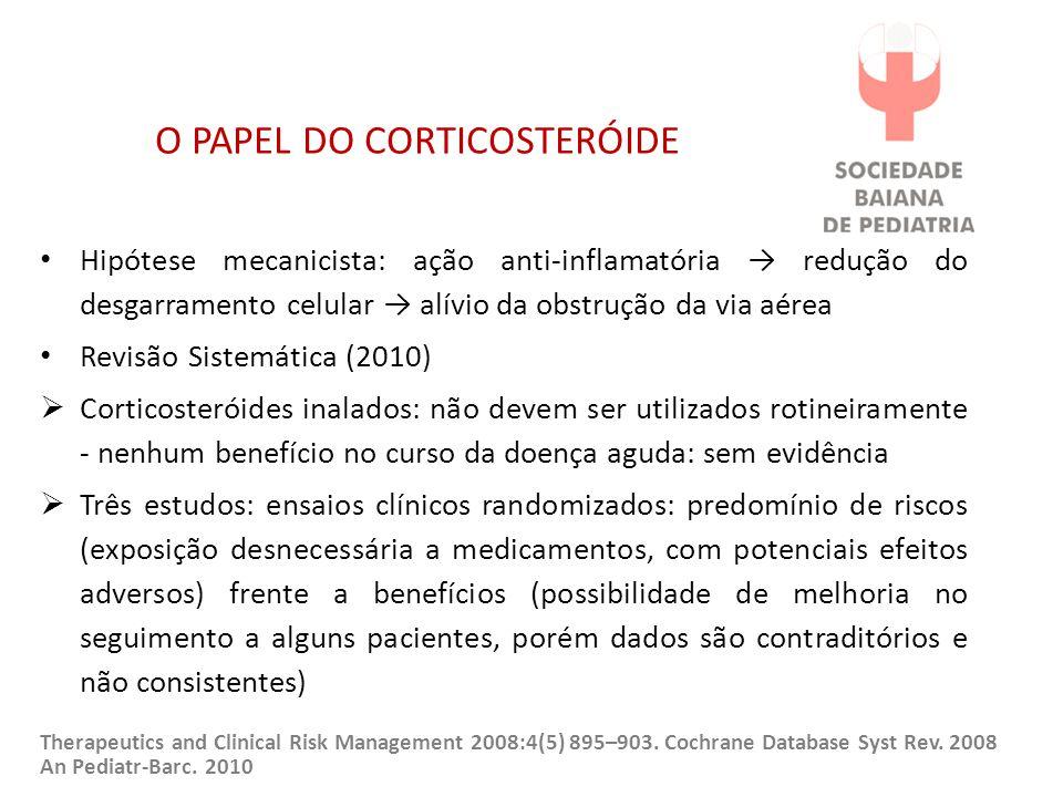 O PAPEL DO CORTICOSTERÓIDE Hipótese mecanicista: ação anti-inflamatória → redução do desgarramento celular → alívio da obstrução da via aérea Revisão