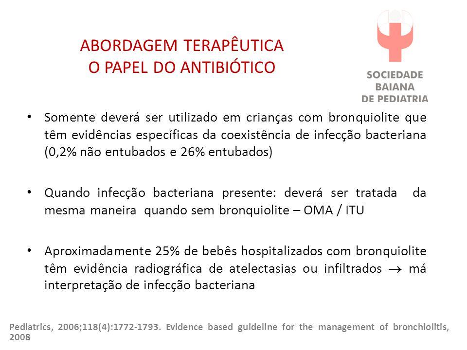 ABORDAGEM TERAPÊUTICA O PAPEL DO ANTIBIÓTICO Somente deverá ser utilizado em crianças com bronquiolite que têm evidências específicas da coexistência