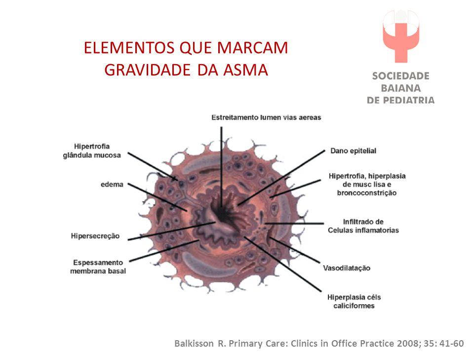 ELEMENTOS QUE MARCAM GRAVIDADE DA ASMA Balkisson R. Primary Care: Clinics in Office Practice 2008; 35: 41-60