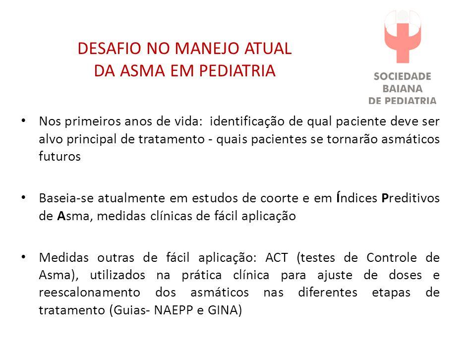 DESAFIO NO MANEJO ATUAL DA ASMA EM PEDIATRIA Nos primeiros anos de vida: identificação de qual paciente deve ser alvo principal de tratamento - quais