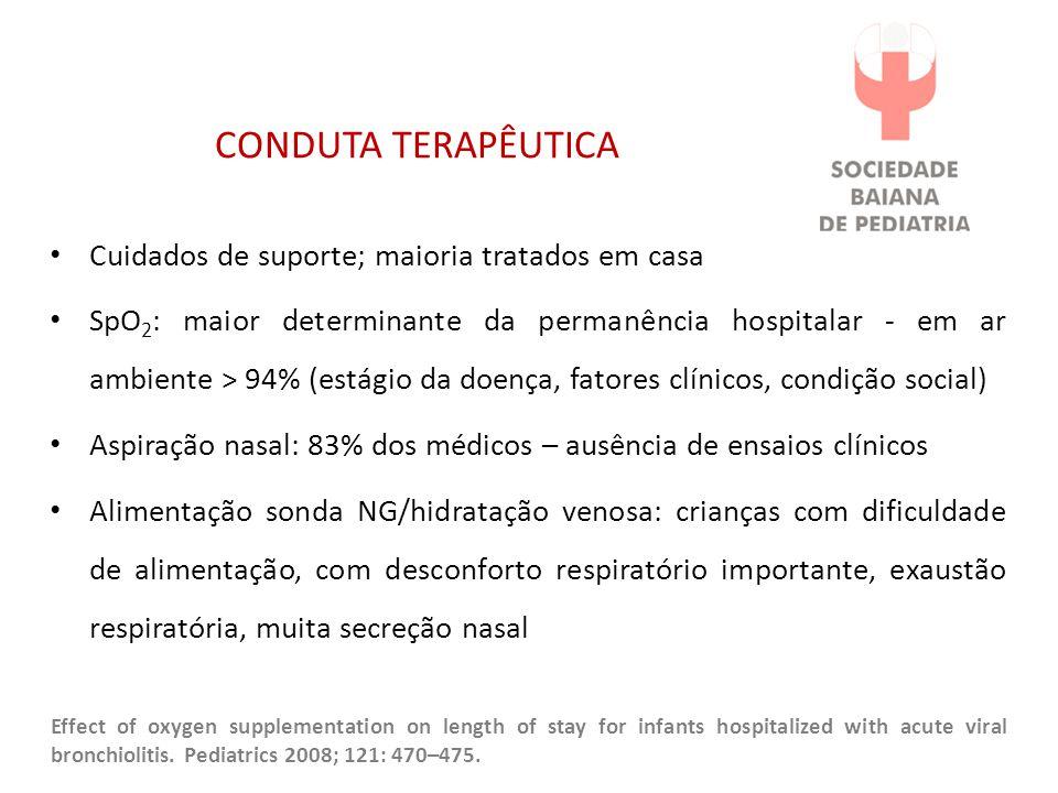 CONDUTA TERAPÊUTICA Cuidados de suporte; maioria tratados em casa SpO 2 : maior determinante da permanência hospitalar - em ar ambiente > 94% (estágio