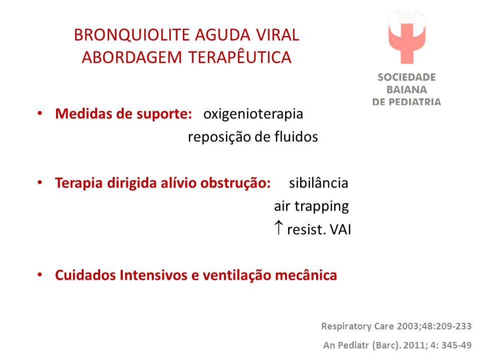 BRONQUIOLITE AGUDA VIRAL ABORDAGEM TERAPÊUTICA Medidas de suporte: oxigenioterapia reposição de fluidos Terapia dirigida alívio obstrução: sibilância