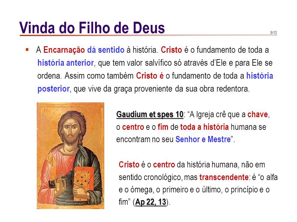 9/10 Vinda do Filho de Deus  A Encarnação dá sentido à história. Cristo é o fundamento de toda a história anterior, que tem valor salvífico só atravé