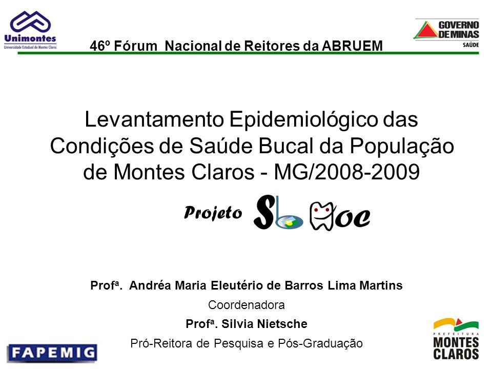 Projeto Levantamento Epidemiológico das Condições de Saúde Bucal da População de Montes Claros - MG/2008-2009 Prof a. Andréa Maria Eleutério de Barros