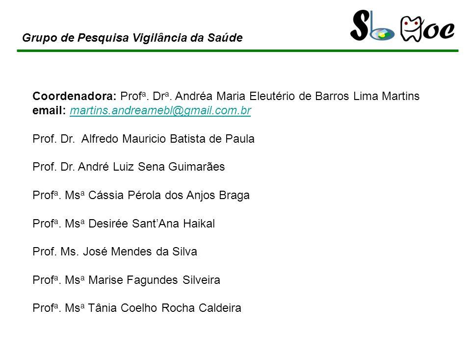 Coordenadora: Prof a. Dr a. Andréa Maria Eleutério de Barros Lima Martins email: martins.andreamebl@gmail.com.brmartins.andreamebl@gmail.com.br Prof.