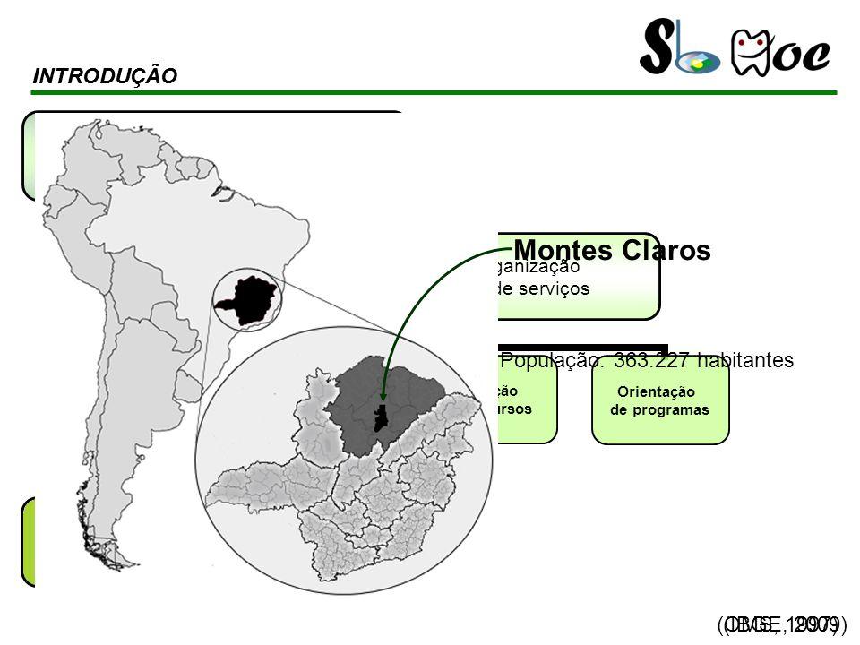 (OMS, 1997) INTRODUÇÃO População: 363.227 habitantes INTRODUÇÃO Montes Claros (IBGE, 2009)