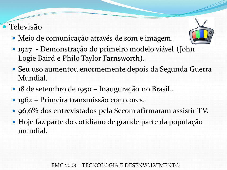 Televisão Meio de comunicação através de som e imagem. 1927 - Demonstração do primeiro modelo viável (John Logie Baird e Philo Taylor Farnsworth). Seu