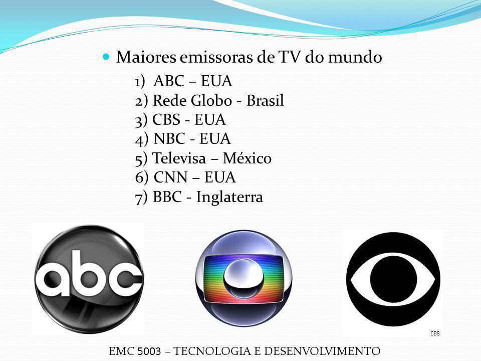 Maiores emissoras de TV do mundo 1) ABC – EUA 2) Rede Globo - Brasil 3) CBS - EUA 4) NBC - EUA 5) Televisa – México 6) CNN – EUA 7) BBC - Inglaterra E