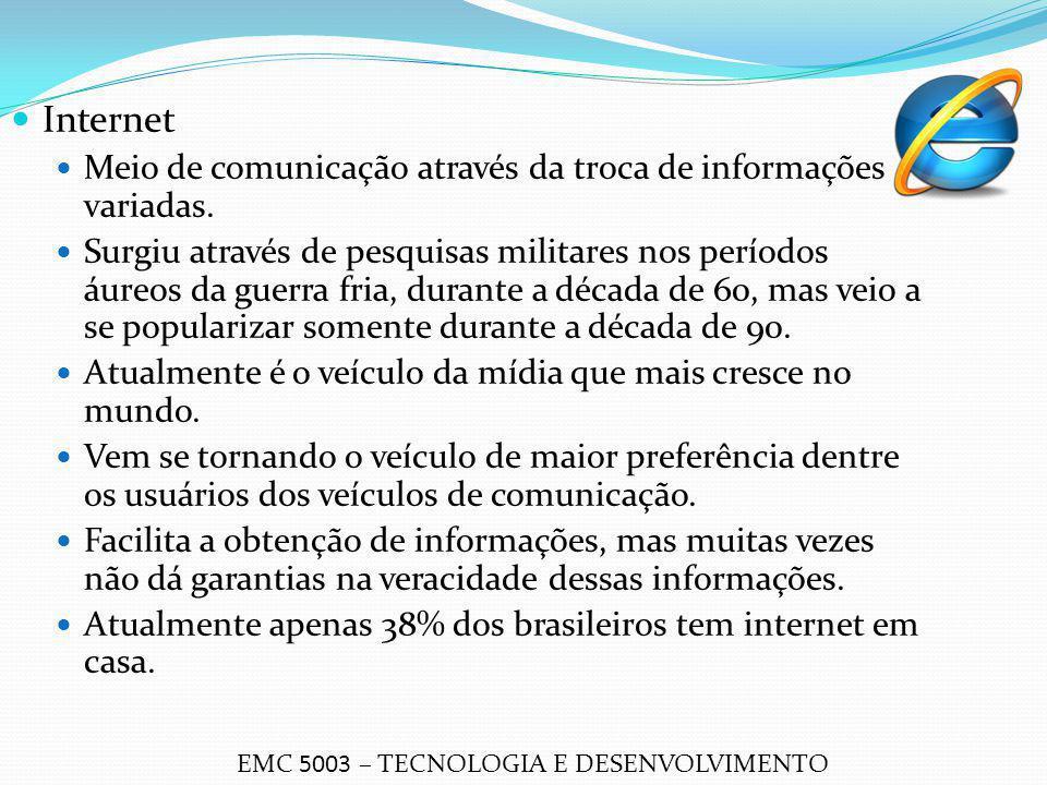 Internet Meio de comunicação através da troca de informações variadas. Surgiu através de pesquisas militares nos períodos áureos da guerra fria, duran