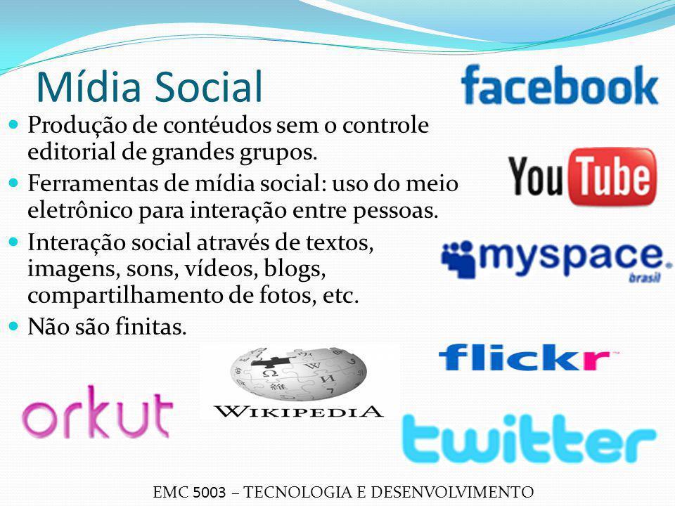 Mídia Social EMC 5003 – TECNOLOGIA E DESENVOLVIMENTO Produção de contéudos sem o controle editorial de grandes grupos. Ferramentas de mídia social: us