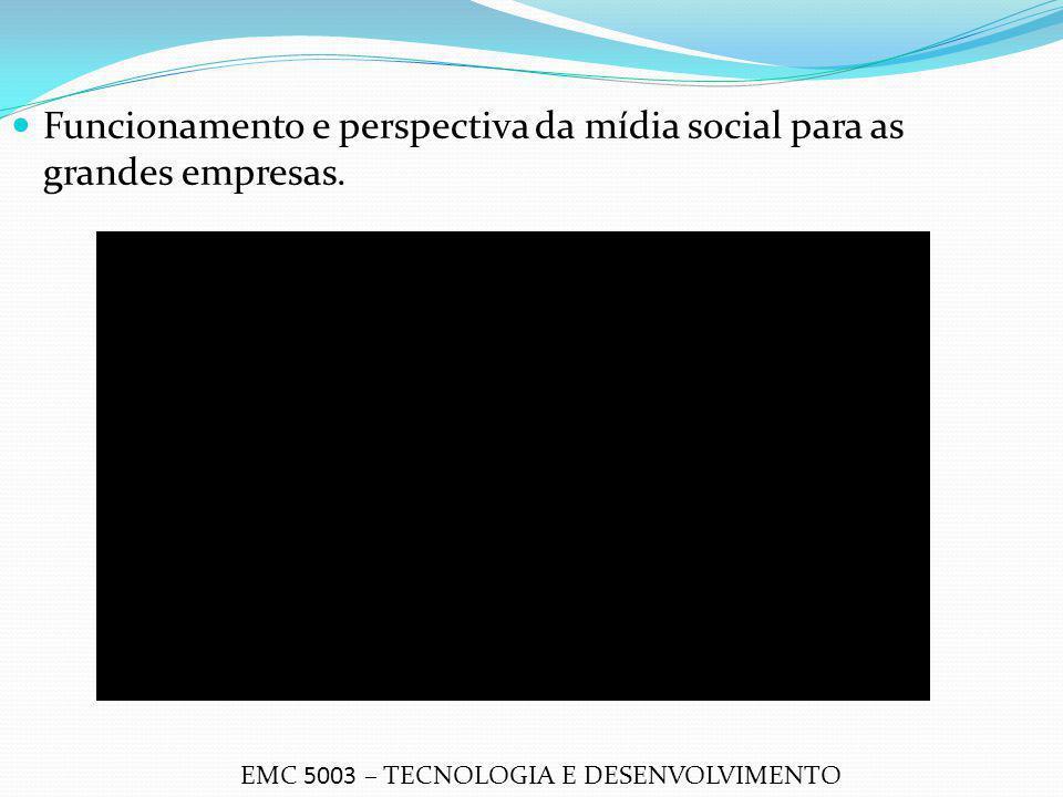 Funcionamento e perspectiva da mídia social para as grandes empresas. EMC 5003 – TECNOLOGIA E DESENVOLVIMENTO