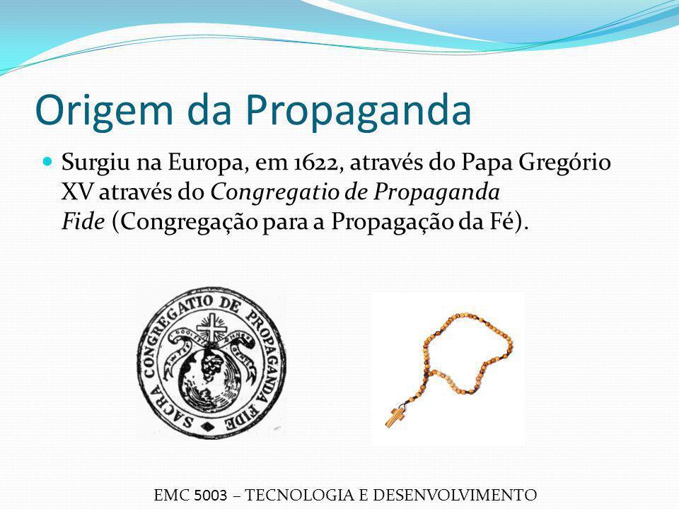 Origem da Propaganda Surgiu na Europa, em 1622, através do Papa Gregório XV através do Congregatio de Propaganda Fide (Congregação para a Propagação d