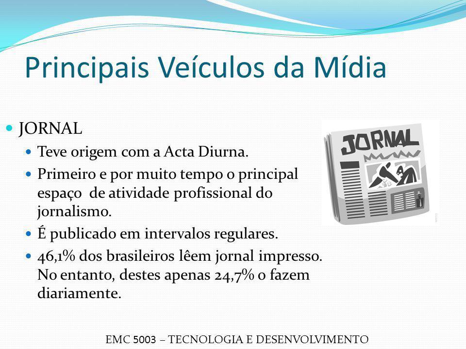 Principais Veículos da Mídia JORNAL Teve origem com a Acta Diurna. Primeiro e por muito tempo o principal espaço de atividade profissional do jornalis