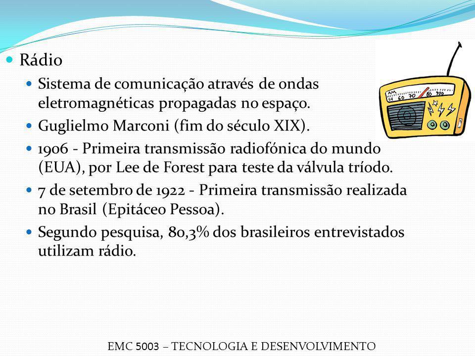 Rádio Sistema de comunicação através de ondas eletromagnéticas propagadas no espaço. Guglielmo Marconi (fim do século XIX). 1906 - Primeira transmissã