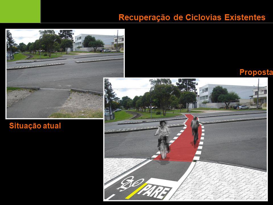 Infraestrutura Cicloviária de Curitiba Recuperação de Ciclovias Existentes Situação atual Proposta