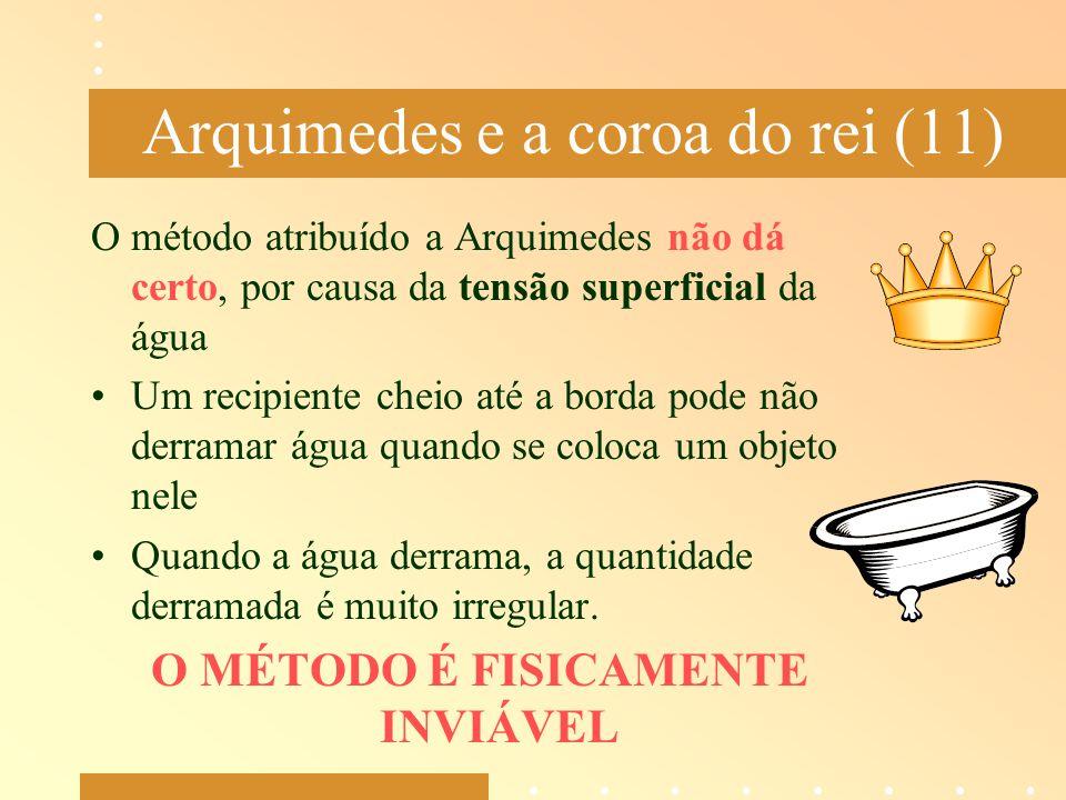 Arquimedes e a coroa do rei (11) O método atribuído a Arquimedes não dá certo, por causa da tensão superficial da água Um recipiente cheio até a borda