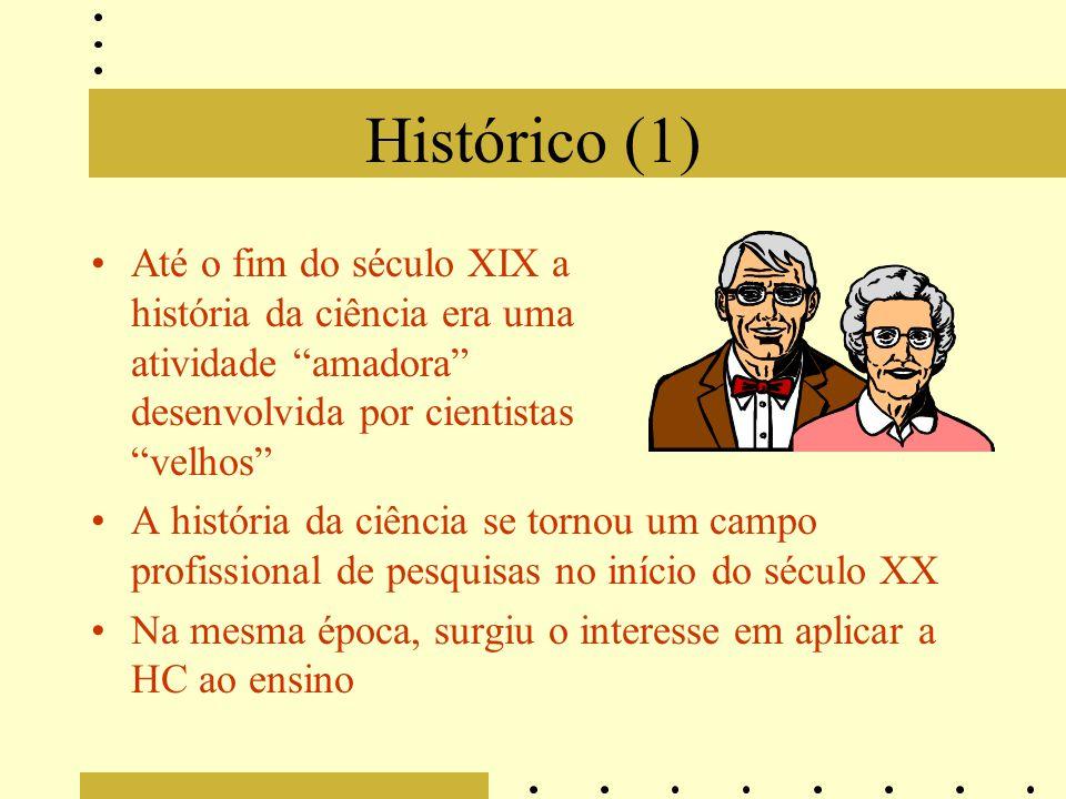 """Histórico (1) Até o fim do século XIX a história da ciência era uma atividade """"amadora"""" desenvolvida por cientistas """"velhos"""" A história da ciência se"""