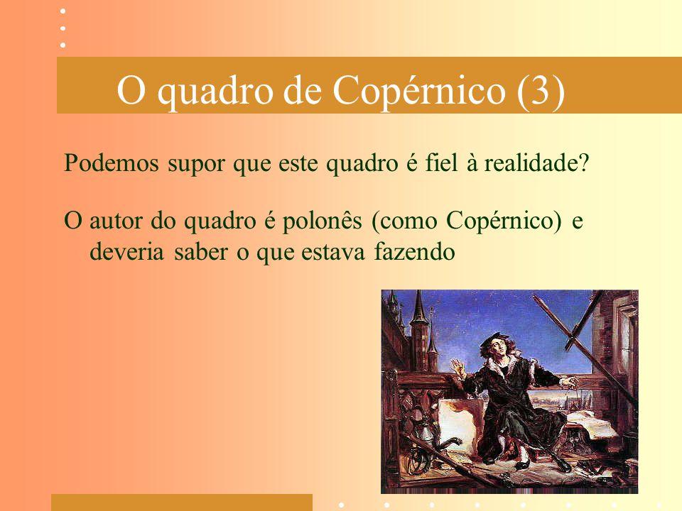 O quadro de Copérnico (3) Podemos supor que este quadro é fiel à realidade? O autor do quadro é polonês (como Copérnico) e deveria saber o que estava