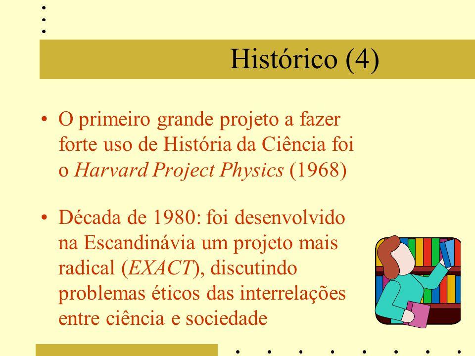 Histórico (4) O primeiro grande projeto a fazer forte uso de História da Ciência foi o Harvard Project Physics (1968) Década de 1980: foi desenvolvido