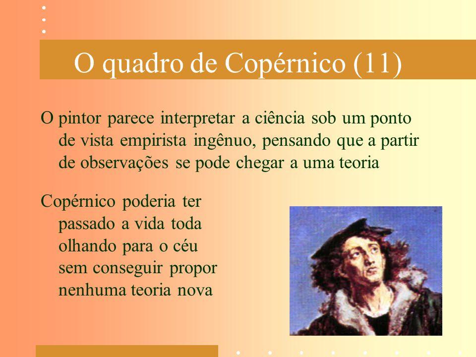 O quadro de Copérnico (11) O pintor parece interpretar a ciência sob um ponto de vista empirista ingênuo, pensando que a partir de observações se pode