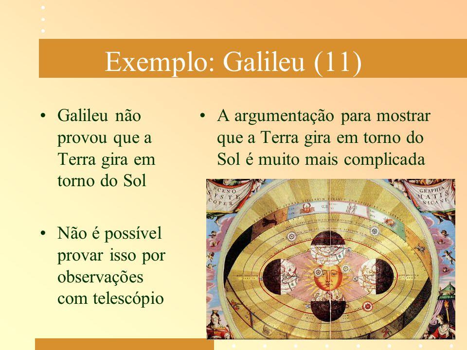 Exemplo: Galileu (11) Galileu não provou que a Terra gira em torno do Sol Não é possível provar isso por observações com telescópio A argumentação par