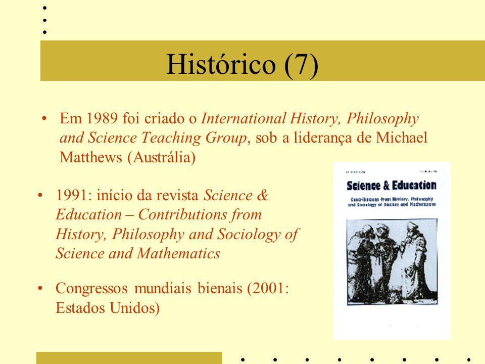 Histórico (7) Em 1989 foi criado o International History, Philosophy and Science Teaching Group, sob a liderança de Michael Matthews (Austrália) 1991: