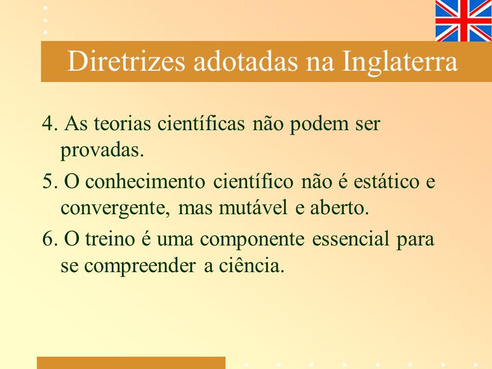 4. As teorias científicas não podem ser provadas. 5. O conhecimento científico não é estático e convergente, mas mutável e aberto. 6. O treino é uma c