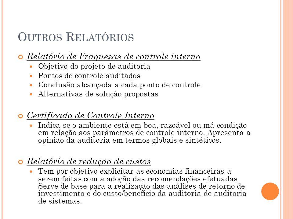 O UTROS R ELATÓRIOS Relatório de Fraquezas de controle interno Objetivo do projeto de auditoria Pontos de controle auditados Conclusão alcançada a cad