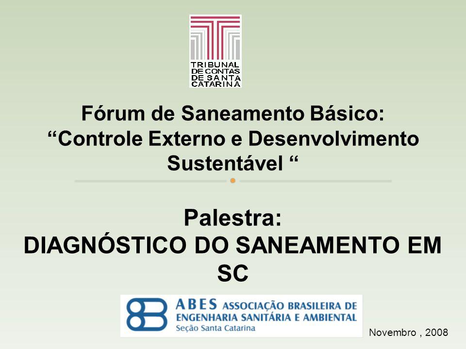 Novembro, 2008 Fórum de Saneamento Básico: Controle Externo e Desenvolvimento Sustentável Palestra: DIAGNÓSTICO DO SANEAMENTO EM SC