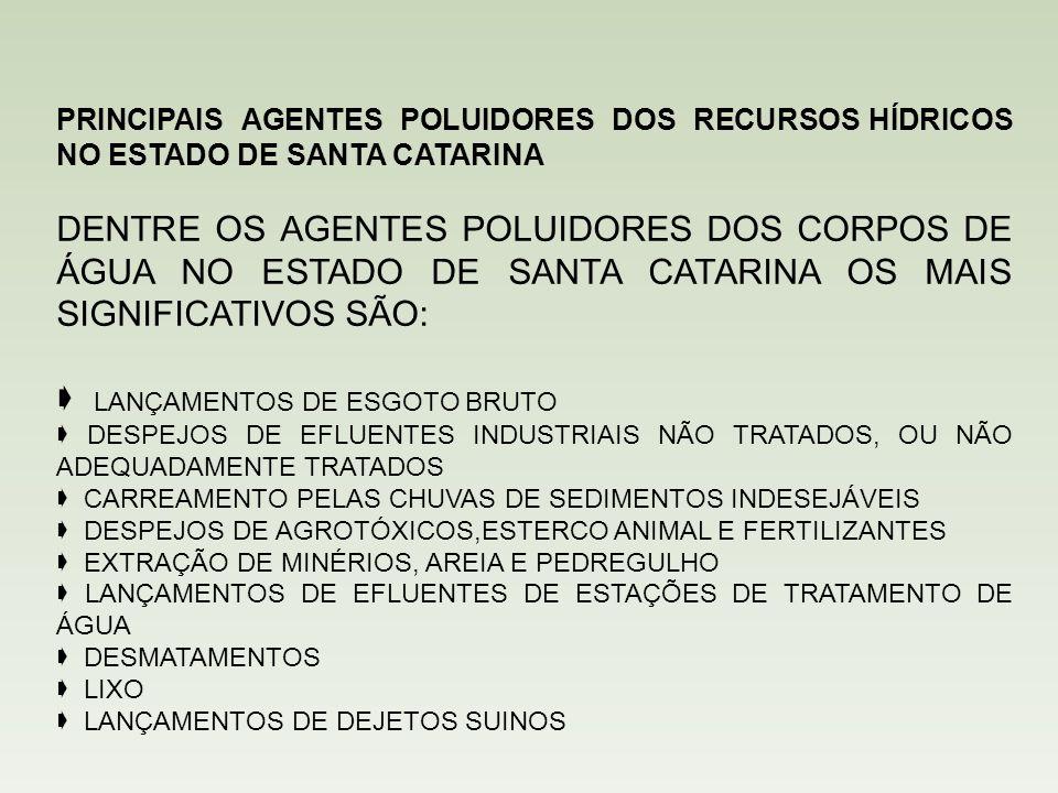 PRINCIPAIS AGENTES POLUIDORES DOS RECURSOS HÍDRICOS NO ESTADO DE SANTA CATARINA DENTRE OS AGENTES POLUIDORES DOS CORPOS DE ÁGUA NO ESTADO DE SANTA CATARINA OS MAIS SIGNIFICATIVOS SÃO:  LANÇAMENTOS DE ESGOTO BRUTO  DESPEJOS DE EFLUENTES INDUSTRIAIS NÃO TRATADOS, OU NÃO ADEQUADAMENTE TRATADOS  CARREAMENTO PELAS CHUVAS DE SEDIMENTOS INDESEJÁVEIS  DESPEJOS DE AGROTÓXICOS,ESTERCO ANIMAL E FERTILIZANTES  EXTRAÇÃO DE MINÉRIOS, AREIA E PEDREGULHO  LANÇAMENTOS DE EFLUENTES DE ESTAÇÕES DE TRATAMENTO DE ÁGUA  DESMATAMENTOS  LIXO  LANÇAMENTOS DE DEJETOS SUINOS