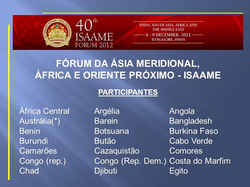 FÓRUM DA ÁSIA MERIDIONAL, ÁFRICA E ORIENTE PRÓXIMO - ISAAME DATAS 39ª REUNIÃO ANUAL: BEIRUTE, LÍBANO 08 a 11 Dezembro 2011 40ª REUNIÃO ANUAL: BANGALORE, ÍNDIA 06 a 09 Dezembro 2012 41ª REUNIÃO ANUAL: KATMANDU, NEPAL 05 a 08 Dezembro 2013