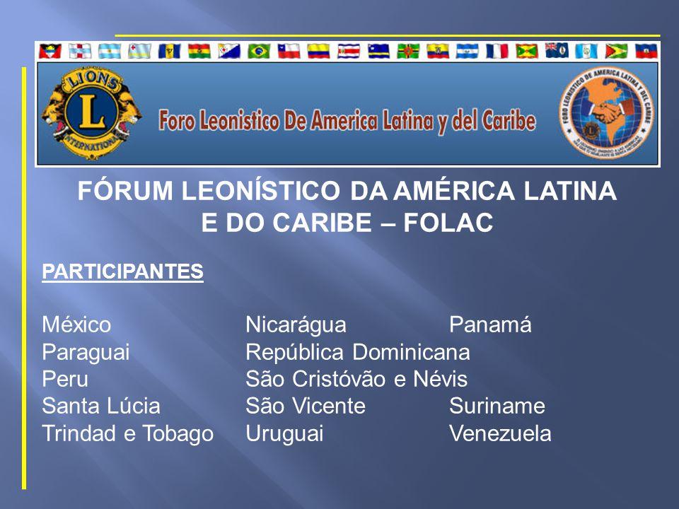 FÓRUM LEONÍSTICO DA AMÉRICA LATINA E DO CARIBE – FOLAC PARTICIPANTES Antigua e BarbudaArgentinaBarbados BelizeBolíviaBrasil ChileColômbiaCosta Rica DominicaEl SalvadorEquador GranadaGuatemala Guiana HaitiHondurasJamaica